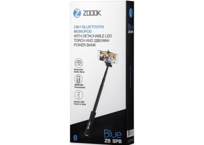 Zoook Selfie Stick with Power Bank & Torch – 3 – in -1 – SPB